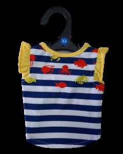 T-Shirt a Ralla para Playa Azul / Amarillo XS