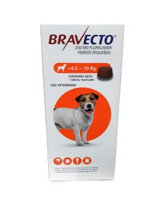 Desparasitante externo para Perro de 4.5-10 Kg  Bravecto 250 mg 1 tableta