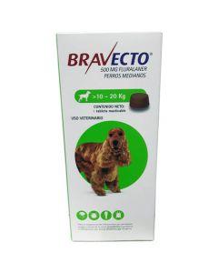 Desparasitante externo para Perro de 10-20 Kg  Bravecto 500 mg 1 tableta