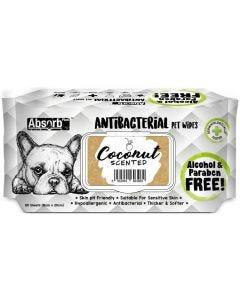 Toallitas antibacteriales olor a coco para perros